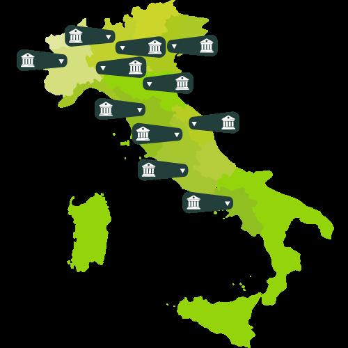 Cartina dell'Italia con le sedi Sanis